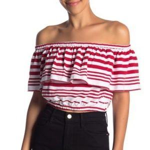 Tops - NWT🍍Off The Shoulder Ruffle Red Stripe Crop Top
